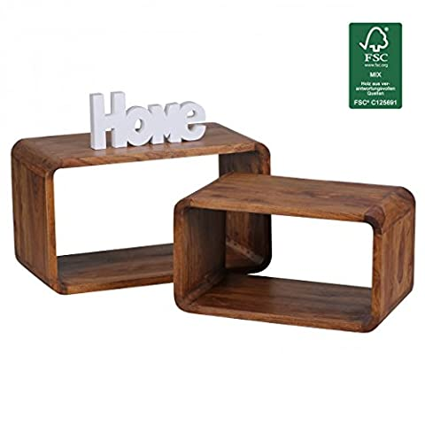 Wohnling Lot de 2Jeu de table bois de Sheesham massif Table de salon style maison de campagne Cubes Table d'appoint de Étagère cube naturel de cube bois table moderne Produit naturel/marron foncé en bois de table basse unique