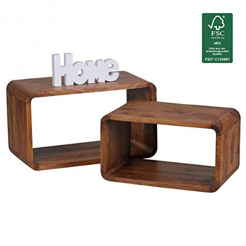 Wohnling 2er Set Satztisch Massiv-Holz Sheesham Wohnzimmer-Tisch Landhaus-Stil Cubes Beistelltisch...