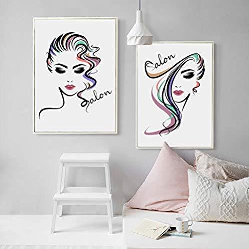 XQWZM Cartel de la impresión del Arte de la Lona, Cuadros Hermosos de la Pared de la Pintura del salón de Pelo de la Muchacha, para la decoración de la Tienda de la peluquería 2 Pedazos / 40X60Cm