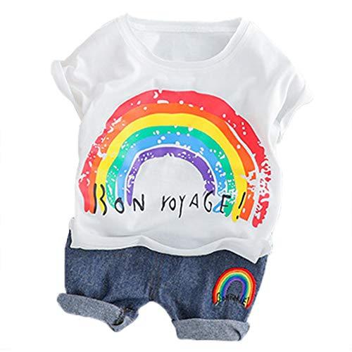 Beaums Baby-Jungen-Kleidung-Klagen Regenbogen-T-Shirt Shorts Kinder-Kind-Kostüm Sommer Kleinkind-Säuglingskleidung Set