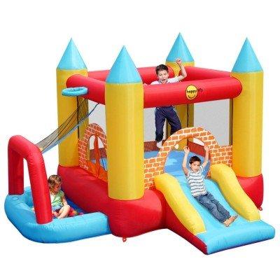 Happy Hop Gonfiabile 4 In 1 - Castillos hinchables (135 kg, Azul, Verde, Rojo, Amarillo, PVC, Interior y Exterior, 3000 mm, 2800 mm)