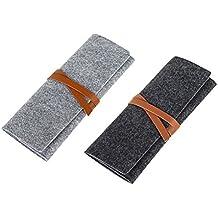 NUOLUX 2pcs Roll Up Felt lápiz titular de la pluma organizadores escuela estacionaria suministros bolsa bolsa de almacenamiento plegable envoltura caso cosmético bolsas (gris oscuro gris claro)