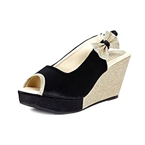 ANAND ARCHIES Women Black Wedges N-136-BLACK-P