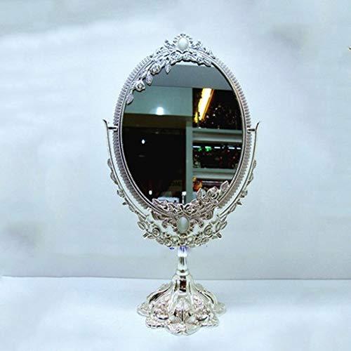NBE Alliage de Zinc- Miroir Miroir placage Argent Recto Bureau Portable Miroir Ovale Miroir Dressing Table Beauté Miroir Haute Définition sur Socle Bienvenue (Couleur : Argent, Taille : S)
