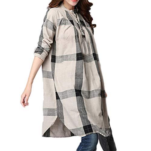 KaloryWee Women Plus Size Lattice Cotton and Linen Long Sleeves Loose Tops Blouse