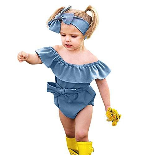 DEELIN Baby Bodysuit Strampler Overall mädchen Kleidung Set Sommer Off Shoulder Solide Rüschen Strampler + Stirnband Outfits