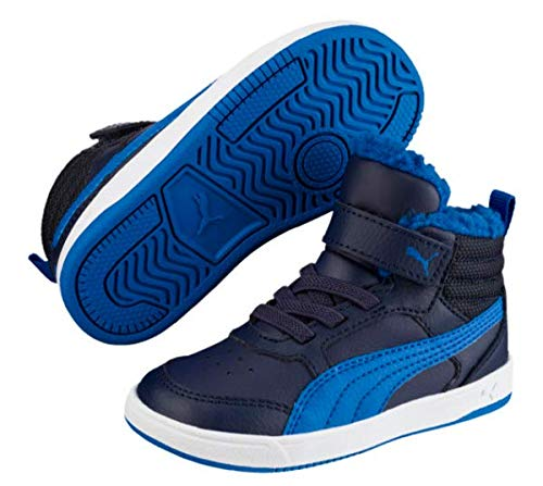 Puma Unisex-Kinder Rebound Street V2 FUR V PS Hohe Sneaker, Blau (Peacoat-Strong Blue White 05), 29 EU