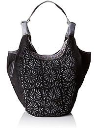 Taschendieb TD644 - Bolso de Asas de Piel para Mujer Color Negro (Anthra), 32x53x23 cm (B x H x T)
