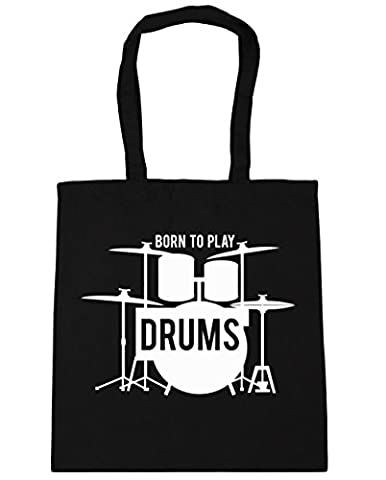 HippoWarehouse Born to Play Drums Tote Shopping Gym Beach Bag 42cm x38cm, 10 litres