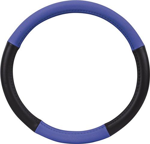 Preisvergleich Produktbild hr-imotion Design Lenkradbezug für Lenkräder zwischen 37 bis 39 cm Durchmesser in schwarz / blau [5 Jahre Garantie | Griffsicher | Schweißregulierend | Design in Germany] - 10811001
