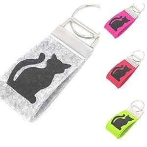 Schlüsselanhänger Katze Farbwahl Wollfilz Mini klein kurz