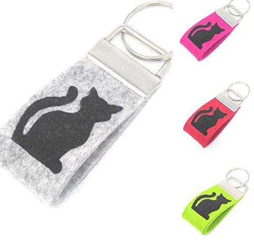 Schlüsselanhänger Katze Farbwahl Wollfilz Mini klein kurz -