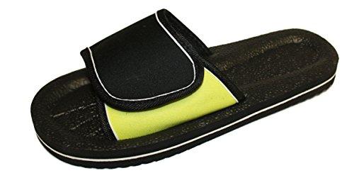 Herren Pool Seite–Beach Wear Sommer Sandale Flip Flop Black - Lime