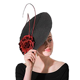 AFCITY Women Fascinator Hat Women Fascinator Hat Feather Flower Hair Clip Hoop Hair Bands Bridal Sinamay for Wedding Cocktail Tea Party Wedding Cocktail Tea Party Derby Hat