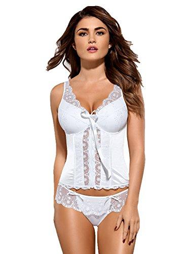 Damen Dessous Set Corsage mit Bügel Cups und String in weiß geblümt Reizwäsche Set mit Spitze Größe: L/XL