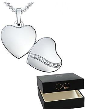 Herz Medaillon * Geschenk Freundin * Herzkette Foto Silber 925 * GRATIS Luxusetui Herz Anhänger zum Öffnen mit...