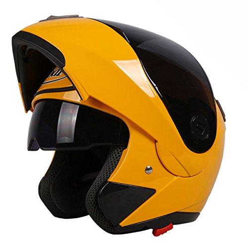 ZPXLGW Homme Moto Lentille Double Exposition Casque Demi-casque Plein Couverture Le Brouillard Les Saisons Femme Casque électrique Intégral été,YellowWithAnti-fogBlackTea-XL