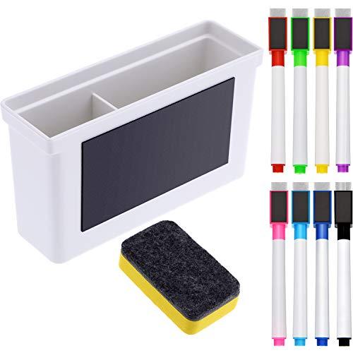 Whiteboard Magnetisch Kunststoff Halter, 8 Stück Bunte Magnetische Marker mit Radiergummi Kappe, Magnetisches Whiteboard Radiergummi für Schule Büro, 10 Stück Total