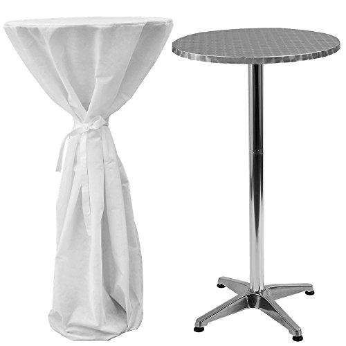 Miadomodo - Table Haute de Bar Bistrot Réglable en Hauteur avec Housse Blanche