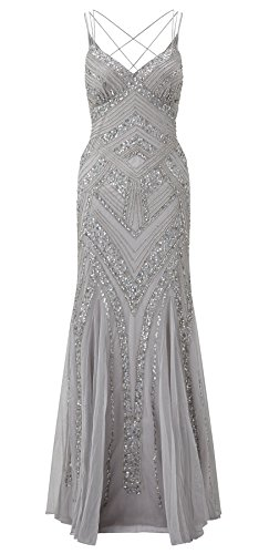 Perla Silver Embellished Maxi Dress