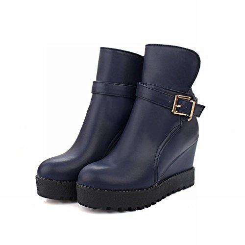 Mee Shoes Damen hidden heel Plateau ungefüttert runder toe Stiefel Blau