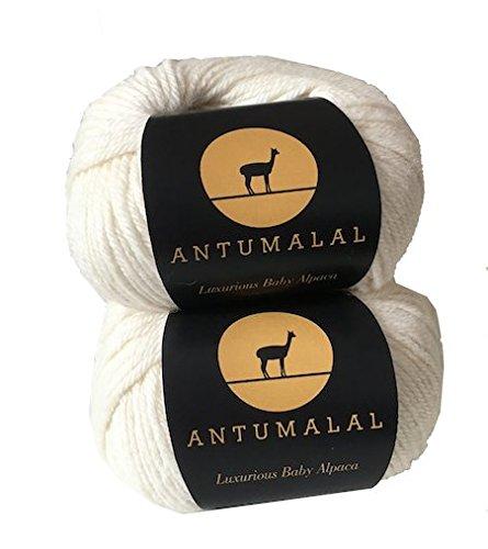 Antumalal 100% Alpaka Wolle 100g (2x50g) (2x112m) Strickwolle Nadelstärke 6 Hypoallergen Luxury (Ecru)
