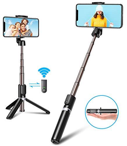 Bovon Bluetooth Selfie Stick Stativ mit Auslöser, 3 in 1 Mini Erweiterbar Aluminium Selfie-Stange, 360° Rotation Selfiestick für iPhone 11 Pro Max/11 Pro/11/XS Max/XR/X/8/7 Plus, Samsung & Huawei