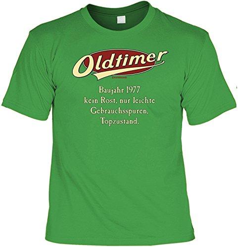Lustiges T-Shirt zum 40. Geburtstag für das Geburtstagskind Oldtimer Baujahr 1977 mit Gratis Mini-Shirt Set 40 Geburtstag 40 Jahre Geschenk Hellgrün