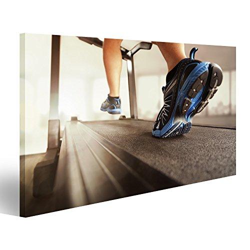 islandburner Bild Bilder auf Leinwand Man läuft in Einem Fitnessstudio auf Einem Laufband für die Ausübung, Fitness und gesunden Lebensstil Wandbild, Poster, Leinwandbild EJA -