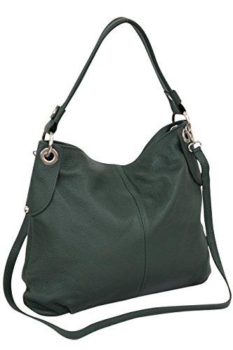 AMBRA Moda Damen echt Ledertasche Handtasche Schultertasche Beutel Shopper Umhängtasche GL012 (Dunkelgrün)