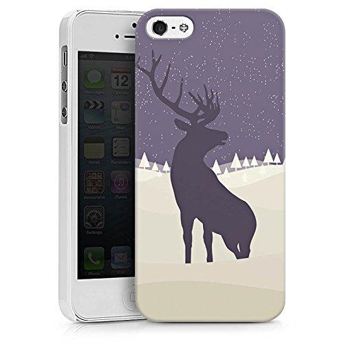 Apple iPhone X Silikon Hülle Case Schutzhülle Hirsch Schnee Winter Hard Case weiß