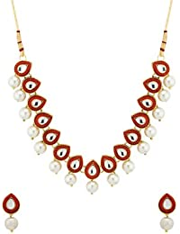 Voylla Yellow Gold Plated Studded With Kundans Necklace Set For Women