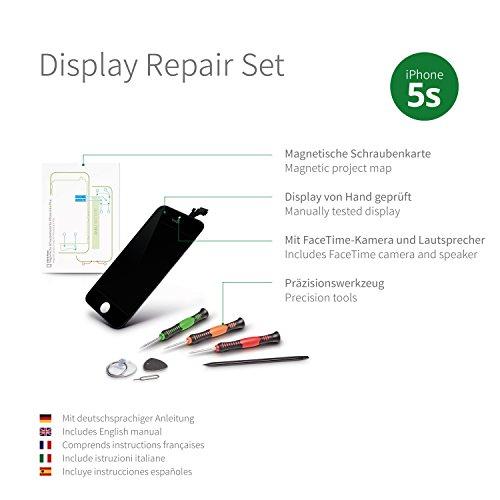 GIGA Fixxoo Kit di Ricambio per Schermo di iPhone 5s, Completo con LCD Nero