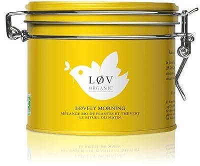 Løv Organic - Thé vert bio Løvely Night - Mélange aromatisé de thé vert, maté, guarana et agrumes - Boîte Métal 100G - Environ 40 tasses - Mélange issu de l'Agriculture Biologique