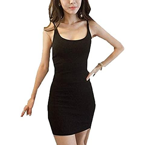 Damas apretado atractivo sin mangas del ajuste delgado tramo corto mini vestido ceñido al cuerpo apretado básico arnés vestido largo sin mangas Tamaño: