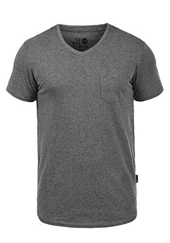 !Solid Tedros Herren T-Shirt Kurzarm Shirt V-Ausschnitt Brusttasche Aus 100% Baumwolle Meliert Dark Grey w. White (2890)