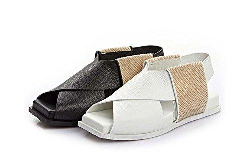 Beauqueen Peep Toe Pump Piazza pelle sandali delle ragazze pattini casuali delle donne cinturini alla caviglia Bianco Nero Europa formato 34-39 White