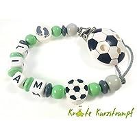 Schnullerkette mit Namen für Jungen in mint, grau / anthrazit mit Fußball und Füßchen