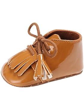 OverDose Baby Neugeborene Troddel Soft Sole Leder Schuhe Jungen Mädchen Kleinkind Krippe Prewalker (0-18Monate)