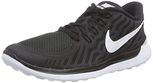 Nike Free 5.0 - Zapatos Mujer, Black/White-Dark Grey-Dove Grey-Wolf Grey, 35.5 EU (2.5 UK)