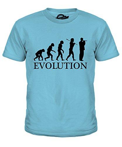 CandyMix Piccoloflöte Evolution Des Menschen Unisex Kinder Jungen/Mädchen T Shirt, Größe 12 Jahre, Farbe Himmelblau