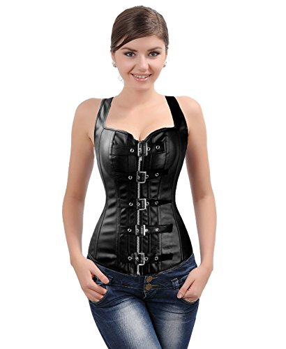 Womens-Fashion-Corset-Top-Overbust-Punk-Bustier-Buckle-Up-Faux-leather-Zipper-Waist-Trainer-Corset