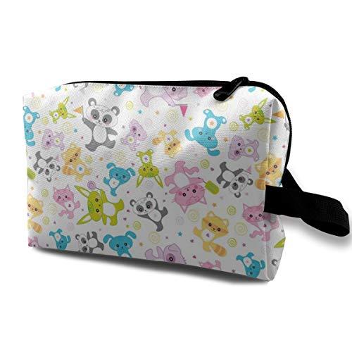 Kawaii Happy Critters - © Lucinda Wei_3014 Tragbare Reise-Make-up-Kosmetiktaschen-Organisator-Multifunktionsfall-Taschen für Frauen