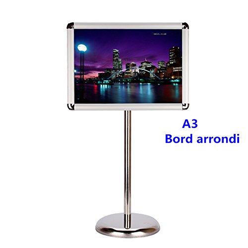 A3 / A4 Display Stand Stand Zeigt das Menü auf Stand an, Höhenverstellbarer Edelstahl-Display-Stand\n, A3, Bord arrondi