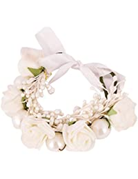 Sanjog Floral White Fabric Wrist Band/Hair Gajra for Girls/Women