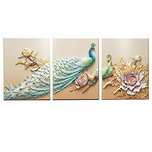 Yongyong Wandbild Neuen Chinesischen Stil Wohnzimmer Dekoration Malerei Fu Pfau Stereo 3D Harz Relief Malerei 60 * 80 cm (Farbe : B, größe : 60 * 80cm) - Malt Crystal