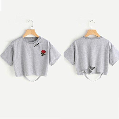 OverDose Damen Sommer Frauen-reizvolle Rosen-Druck Tank Top Sommer-reizvolle Kurzarm Shirts Bluse Tops Pulli D-Grau