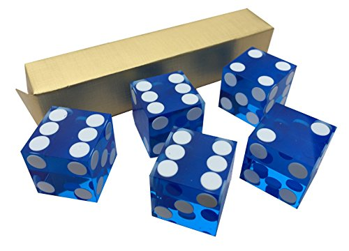 5 x BLUE NEW PERFECT 19MM PRECISION CASINO DICE / CRAPS STUNNING