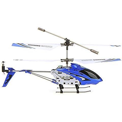 Arshiner Syma S107G Mini Helicóptero con el girocompás teledirigido 3CH Control Remoto Avión RC RTF con LED Azul