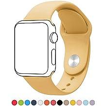 Correa de repuesto para reloj de pulsera deportivo, de silicona suave de poliuretano termoplástico, para iWatch, de la marca ALB®, color amarillo
